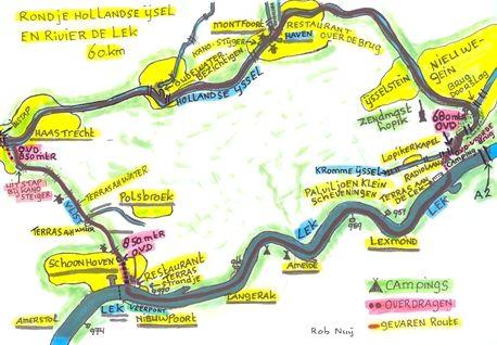 Kanokaart Rondje Vlist - Hollandse IJssel - Kromme IJssel - Lek